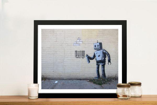 Banksy Robot Barcode Framed Wall Art Print