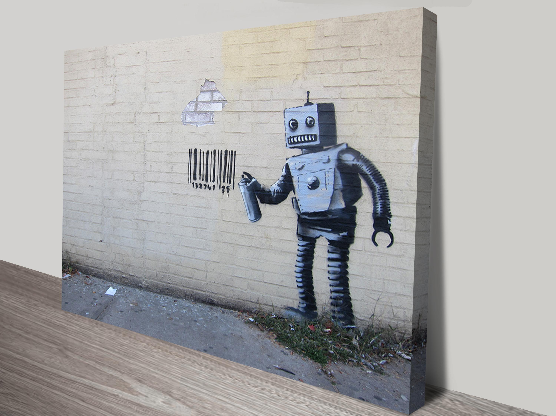 Graffiti art for sale australia - Banksy Robot Bar Code Banksy Robot Canvas Print Australia