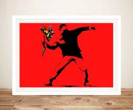 Banksy Flower Thrower Red Wall Art Print