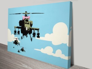 Happy Copters Banksy Artwork on Canvas