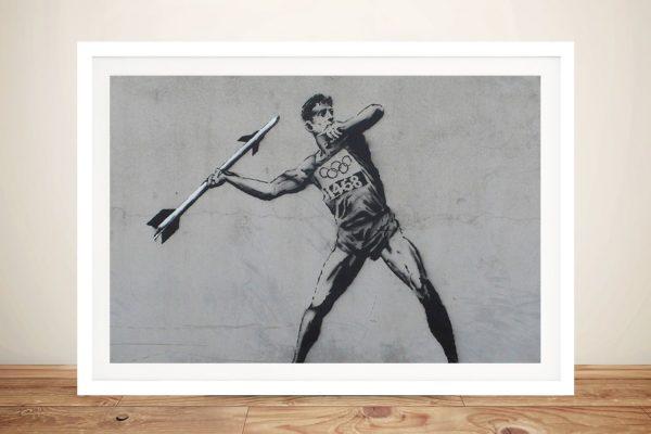 Javelin Thrower Framed Banksy Canvas Print
