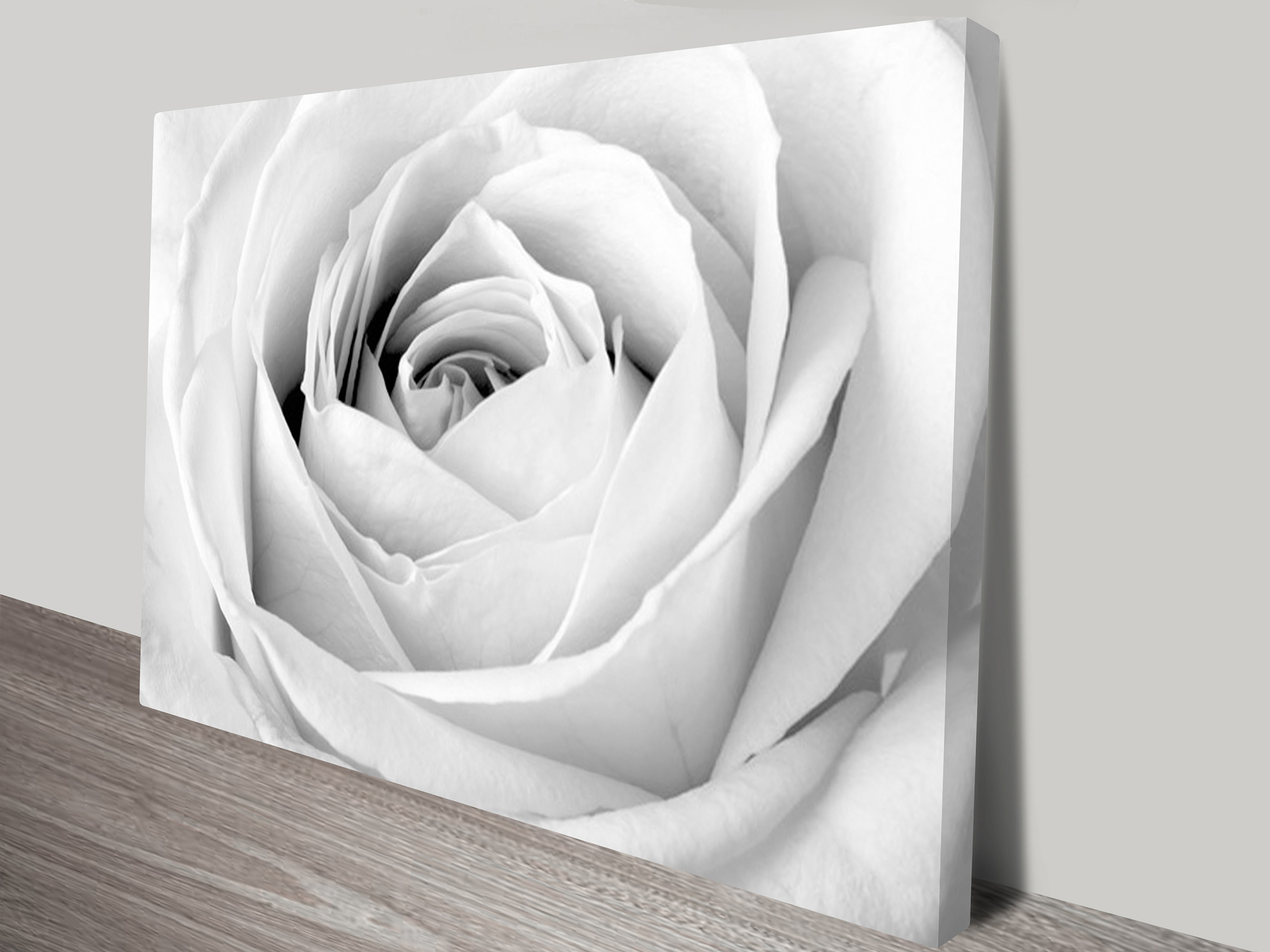 Rose floral black and white canvas art print Black and white canvas art