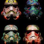 4 Stormtrooper Helmet Pop Art Wall Picture on Frame