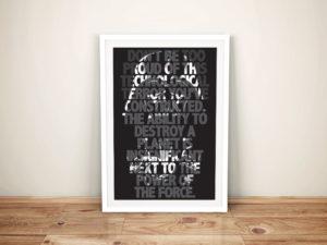 Darth Vader Quote Framed Wall Art Print Brisbane