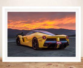 Ferrari sunset Framed Wall Art