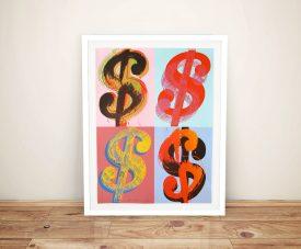Warhol Dollar Quad Framed Wall Art