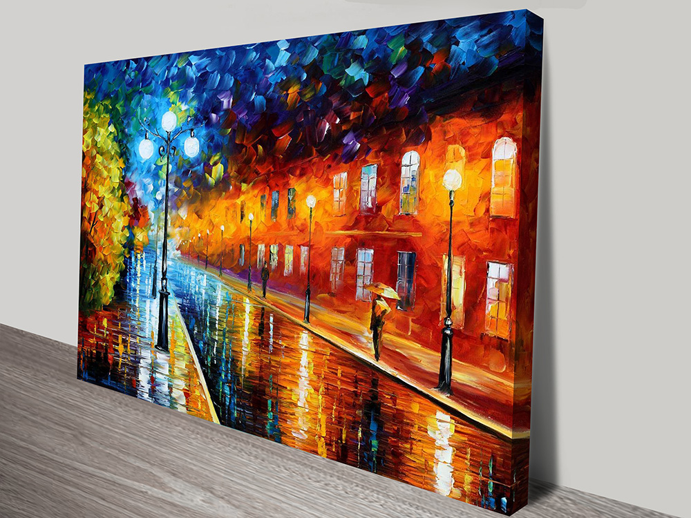 Blue lights leonid afremov artwork on canvas adelaide for Blue paintings on canvas