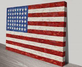 Jasper Johns Flag Artwork on Canvas