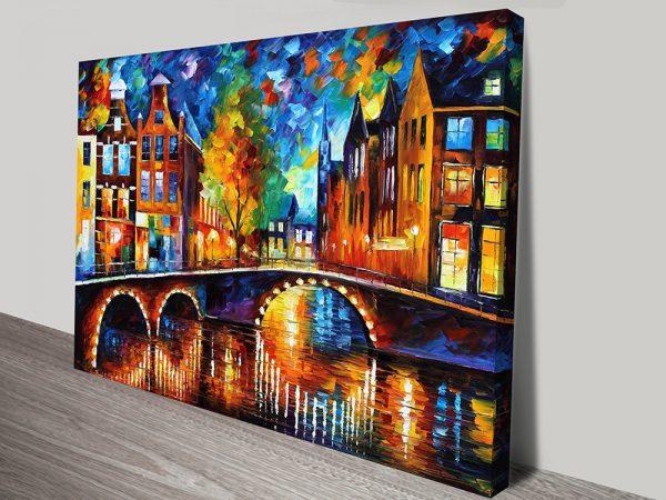 The Bridges of Amsterdam Artwork on Canvas by Afremov
