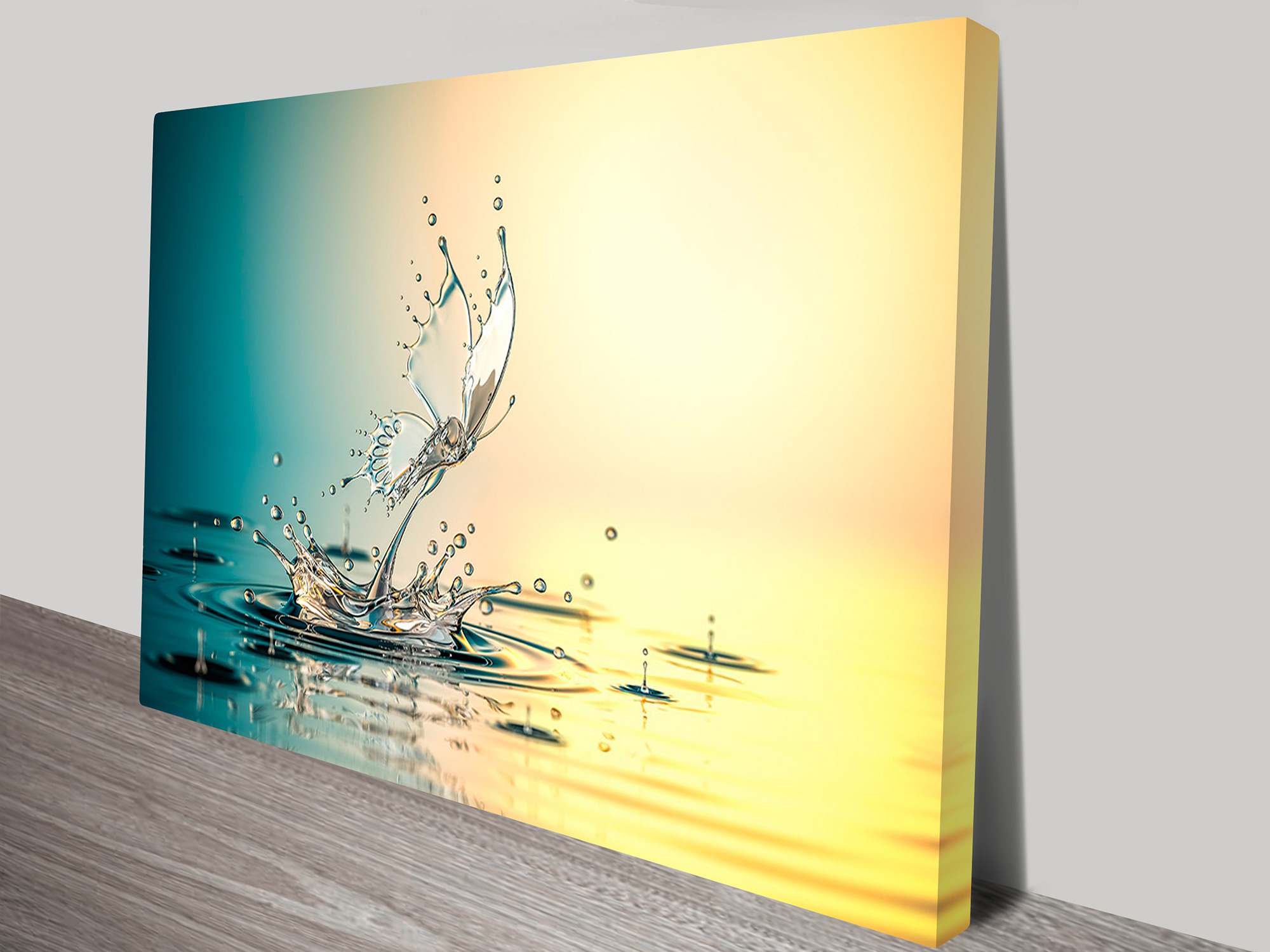 Butterfly water drops canvas prints australia