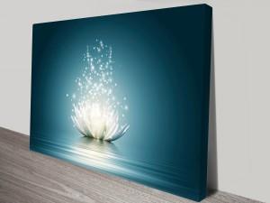 Lotus Flower Moonlight Wall Canvas Art