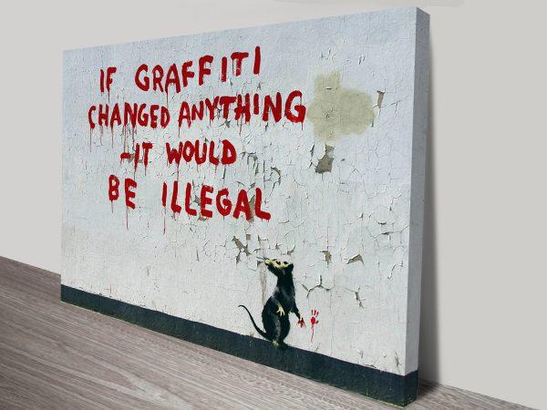 Buy Banksy Graffiti Rat Canvas Art Print