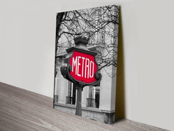Paris Metro Black and White Art Print on Canvas