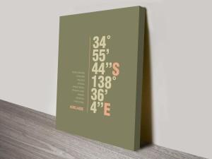 Adelaide Khaki Coordinates Longitude Latitude Canvas Art