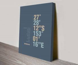 Brisbane Slate Coordinates Longitude Decorative Canvas