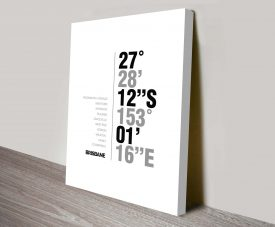 Brisbane White Coordinates Geography Decorative Canvas
