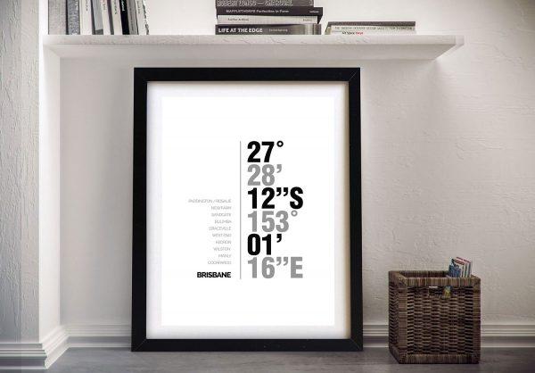 Brisbane Coordinates Framed decor