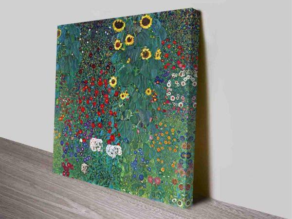 Farm Garden with Sunflowers by Gustav Klimt Floral Fine Art