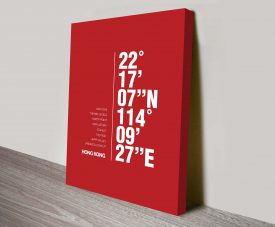 Hong Kong Red Coordinates Longitude Latitude Wall Art
