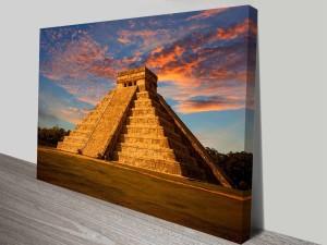 El Castillo Temple Aztec Mesoamerican Pyramid Canvas Art