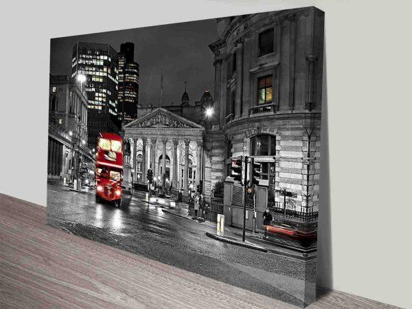 London Red Double Decker Bus Colour Splash Canvas