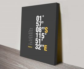 Perth Grey Coordinates Geographical Canvas Wall Art Oz