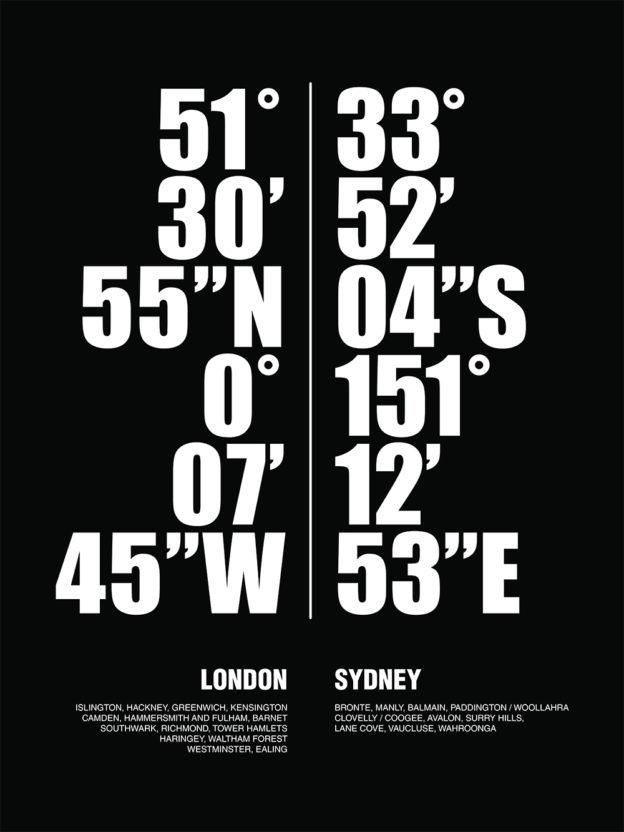 Sydney London Word Art Canvas Print