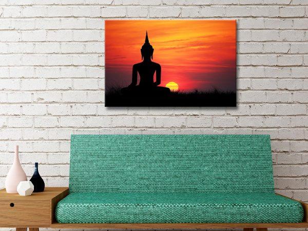 Buddha sunset Canvas Artwork