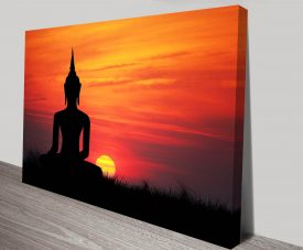 Buddha Statue at Sunset Zen Tranquility Canvas Art Print