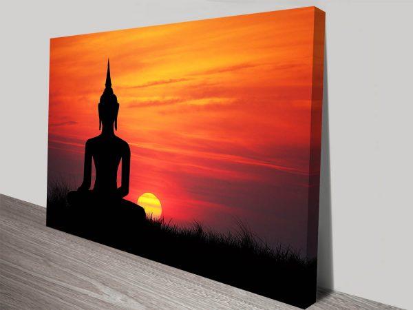 Buddha Statue at Sunset Zen Tranquility Canvas Art Print