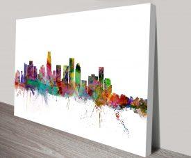 Los Angeles Skyline Canvas Art Print byMichael Tompsett