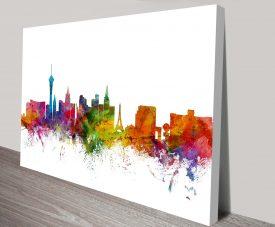 Las Vegas Watercolour Skyline by Michael Tompsett Canvas