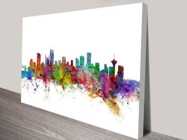 Vancouver Watercolour Skyline by Michael Tompsett Canvas