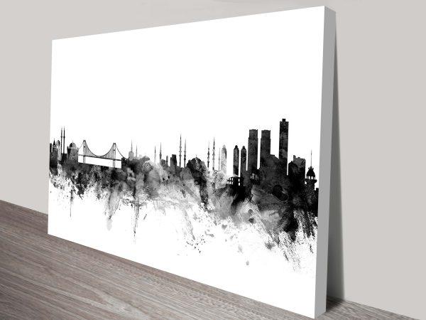 Istanbul Grayscale Skyline Michael Tompsett Canvas Art Print