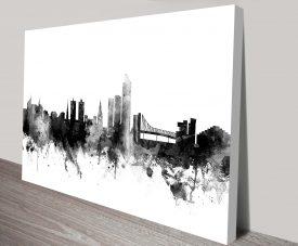 Oslo Monochrome Skyline Michael Tompsett Canvas Art Print