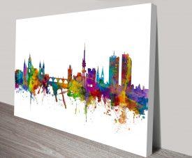 Prague Watercolour Cityscape Michael Tompsett Canvas Art