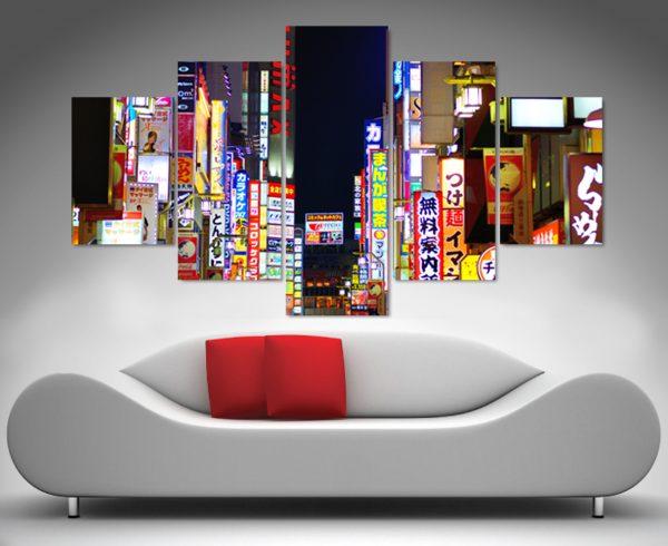 tokyo nights 5 panel canvas wall art print