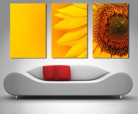 sunny sunflower triptych wall art canvas print