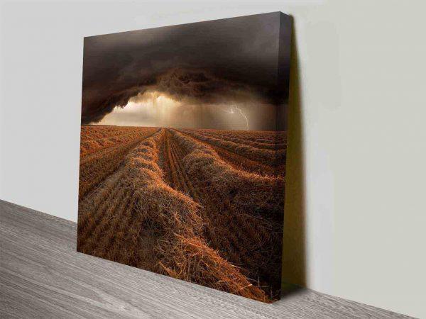stormy farmlands canvas wall art print
