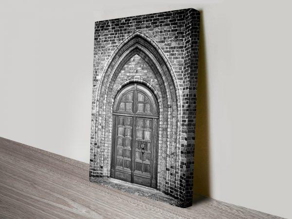 ancient church doorway wall art canvas
