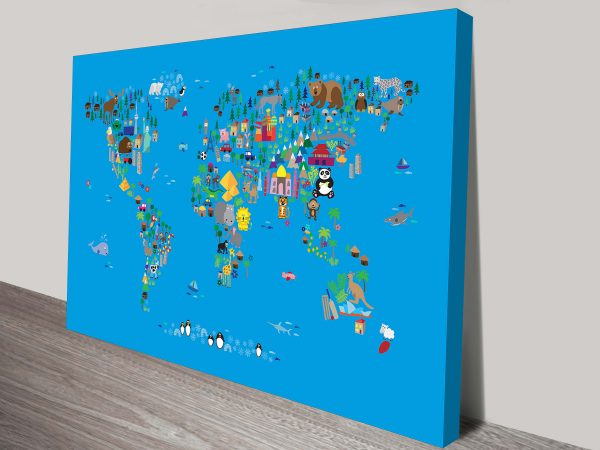 animal map of the world for children and kids by michael tompsett wall art canvas