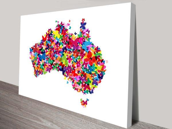 australia butterfly map wall art