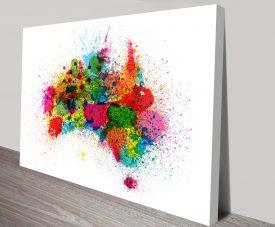 australia paint splashes map wall art
