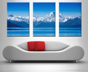 blue mountain lake 3 panel wall art print on canvas