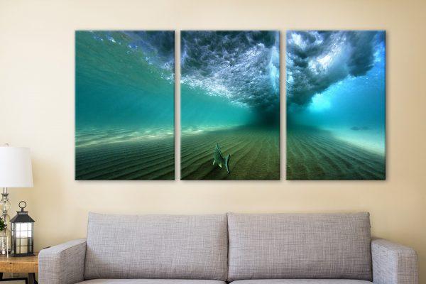 Bream Under Breaking Wave 3 Piece Artwork