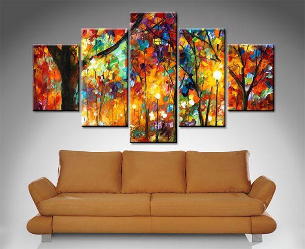 colorful night 5 panel by leonard afremov wall art