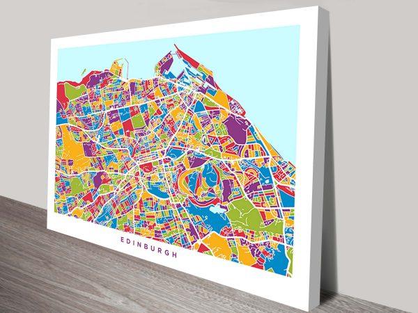 edinburgh street map by michael tompsett wall art canvas