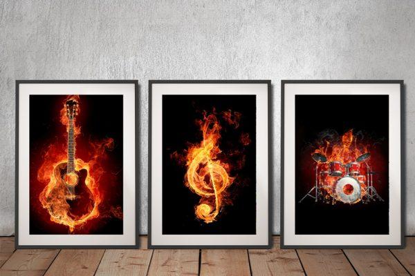 Fiery Music Framed Triptych Prints