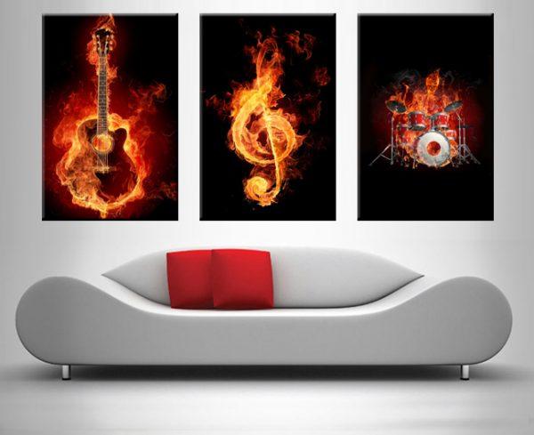 fiery music triptych wall art print on canvas