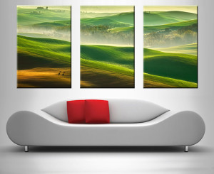 green rolling hills triptych wall canvas print